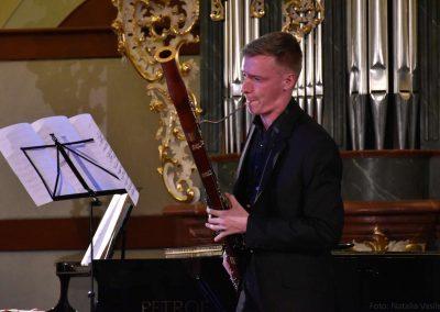 I. absolvetnský kocnert, Refektář Profesního domu MFF, 13.5.2019. Chlapec hrající na fagot.