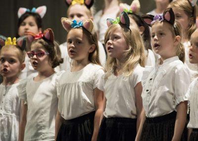 Závěrečný koncert DPSRadost Praha, 20.6.2019, kostel sv. Šimona a Judy. Pohled na zpívající děvčata v přípravném sboru Koťata.